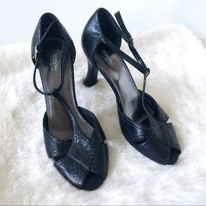 Mossimo T-Strap Peep Toe Buckle Heels in Black